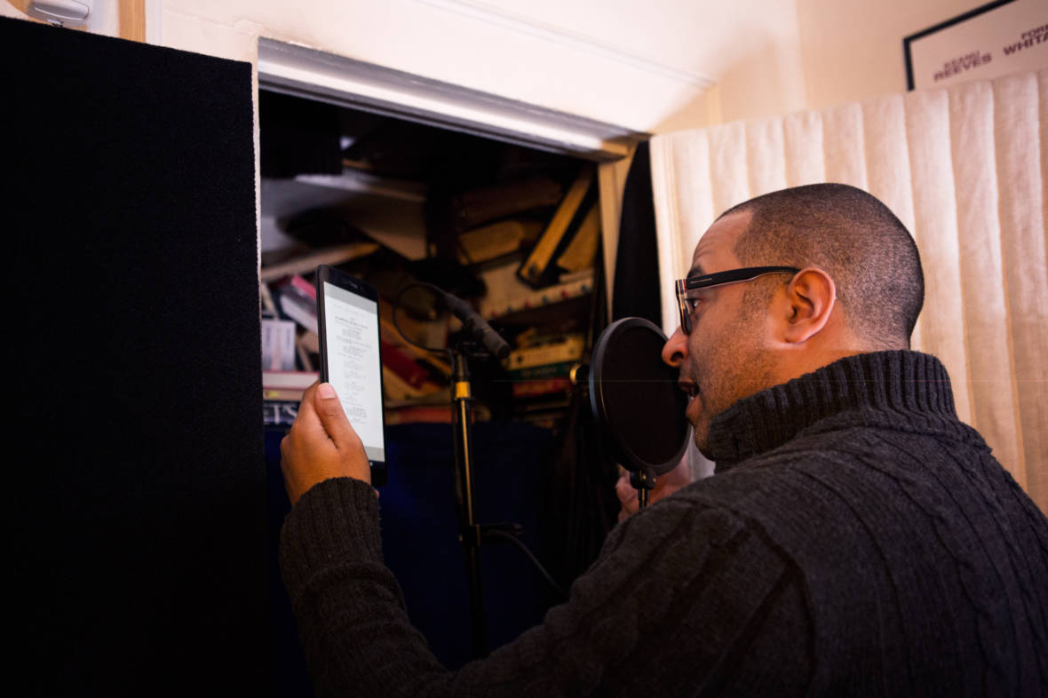 Mendez reads from a 'Jane the Virgin' script in his bedroom recording studio. He records his voice-overs mostly from his home.