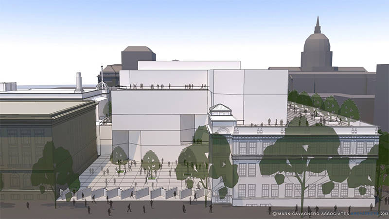 A proposed concept design for the SFUSD Arts Center, which will house the Nourse Theater and the Asawa SOTA