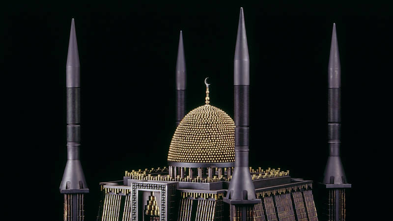 'Mosque III (After National Mosque of Nigeria, Abuja),' 2010; 'tank-killer' missiles, bullets, brass, steel, gun trigger; 25 x 29 x 31 in.