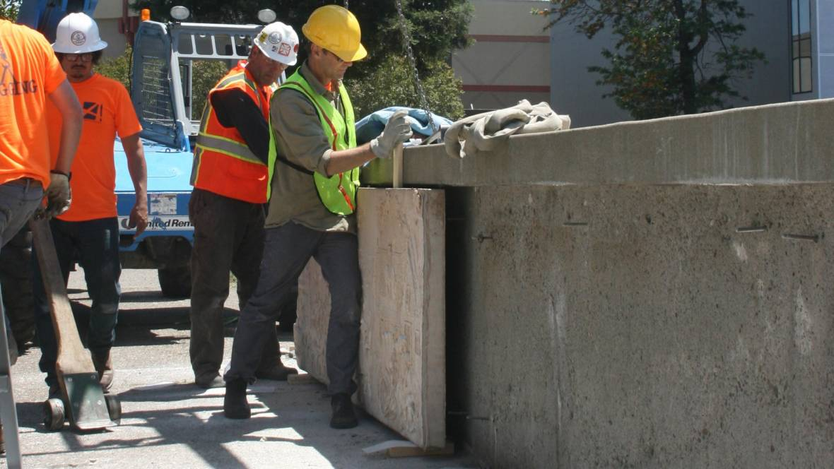 Panels by Ruth Asawa are removed in Santa Rosa's Courthouse Square. Photo: Gabe Meline