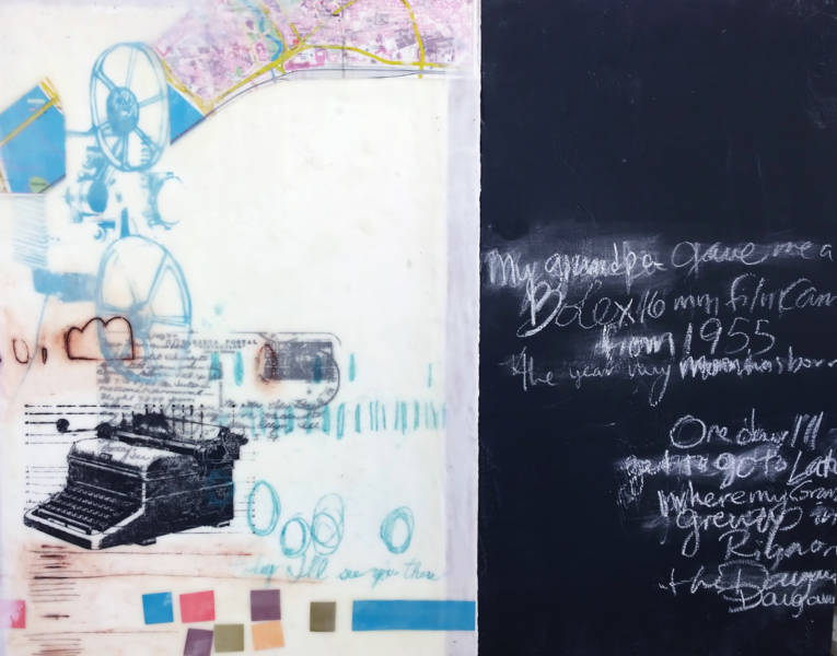 'Encaustic', collage, drawing materials, chalk paint and chalk on panel