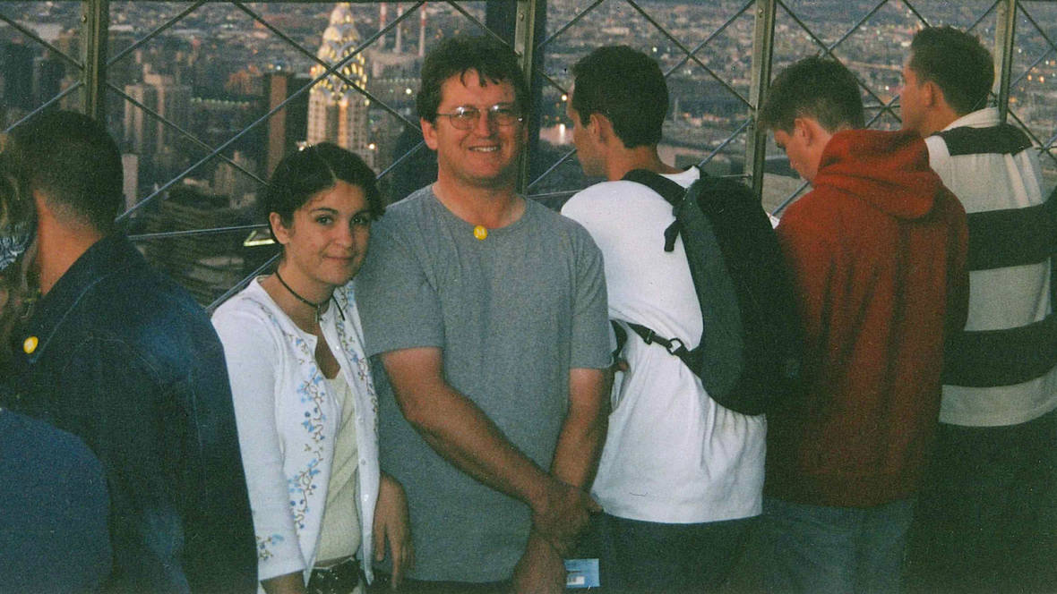 The author, age 16 (left), with her father John Threadgould at the Empire State Building in NYC.