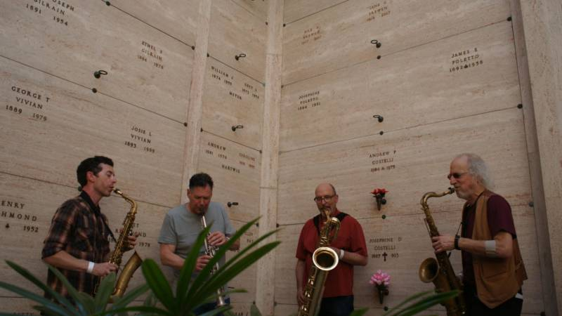 Rova Saxophone Quartet at 'Garden of Memory' in Oakland, June 21, 2016.