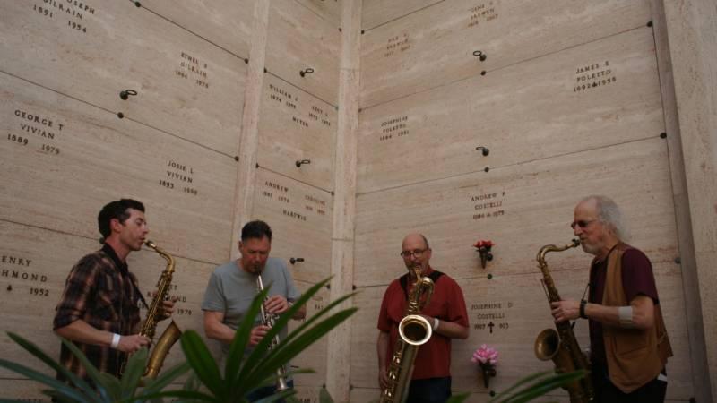 Rova Saxophone Quartet at 'Garden of Memory' in Oakland, June 21, 2016.