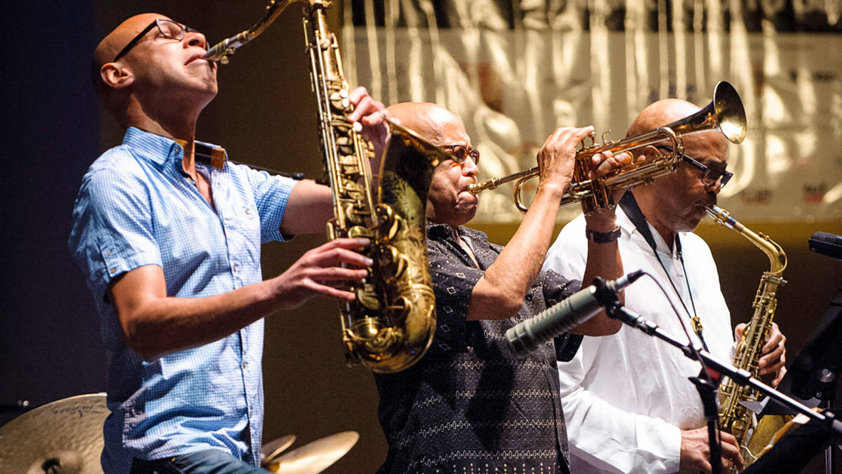 Joshua Redman, Eddie Henderson and Oliver Lake (L–R) at the Healdsburg Jazz Festival, June 4, 2016. Photo: George B. Wells