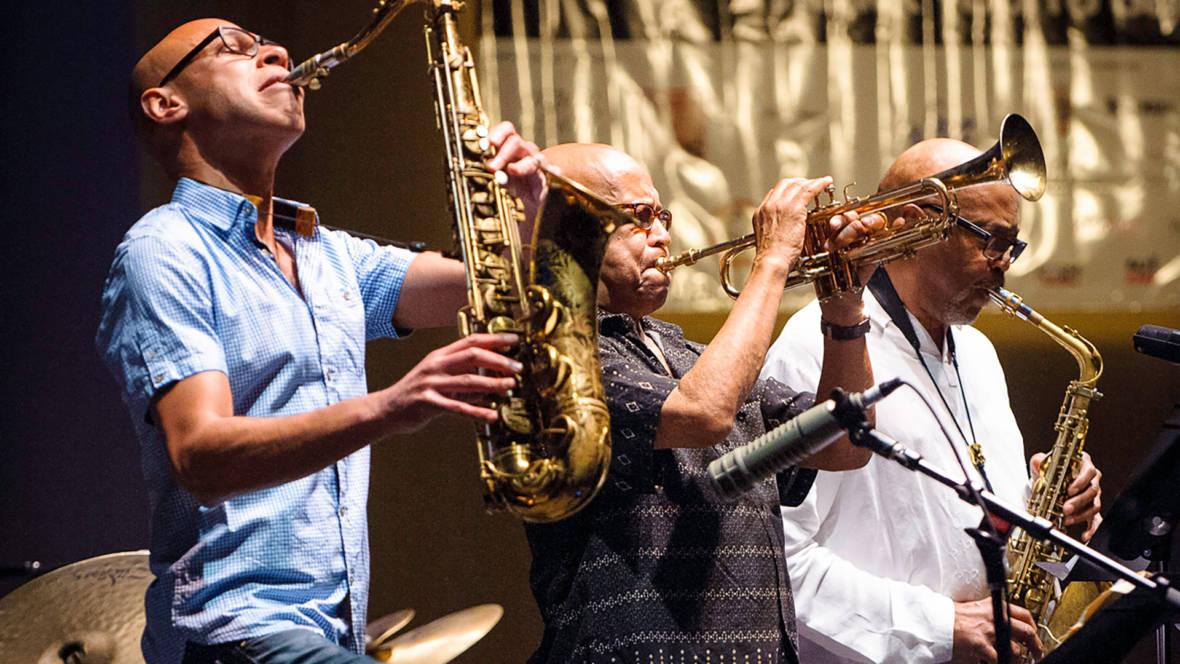 Joshua Redman, Eddie Henderson and Oliver Lake (L–R) at the Healdsburg Jazz Festival, June 4, 2016. Photo: George B. Wells