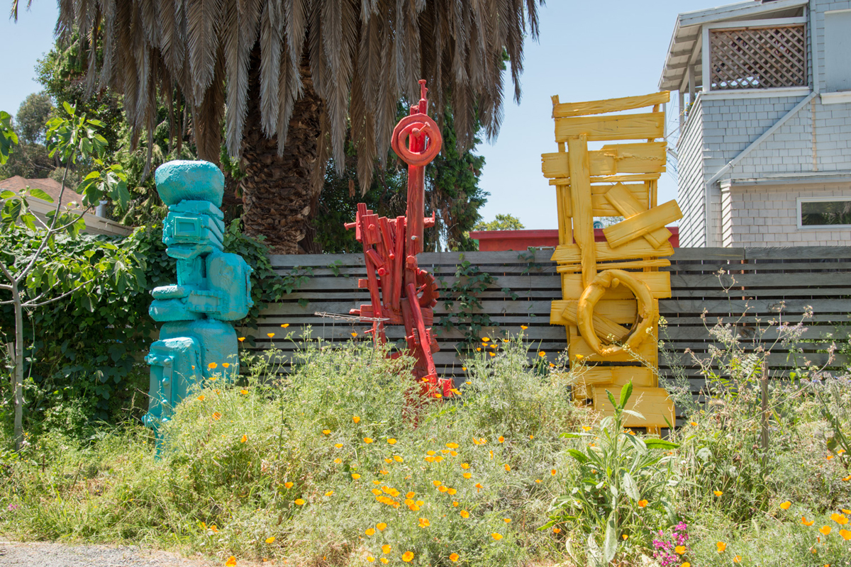 Three outdoor sculptures recently returned from a show near Santa Rosa.