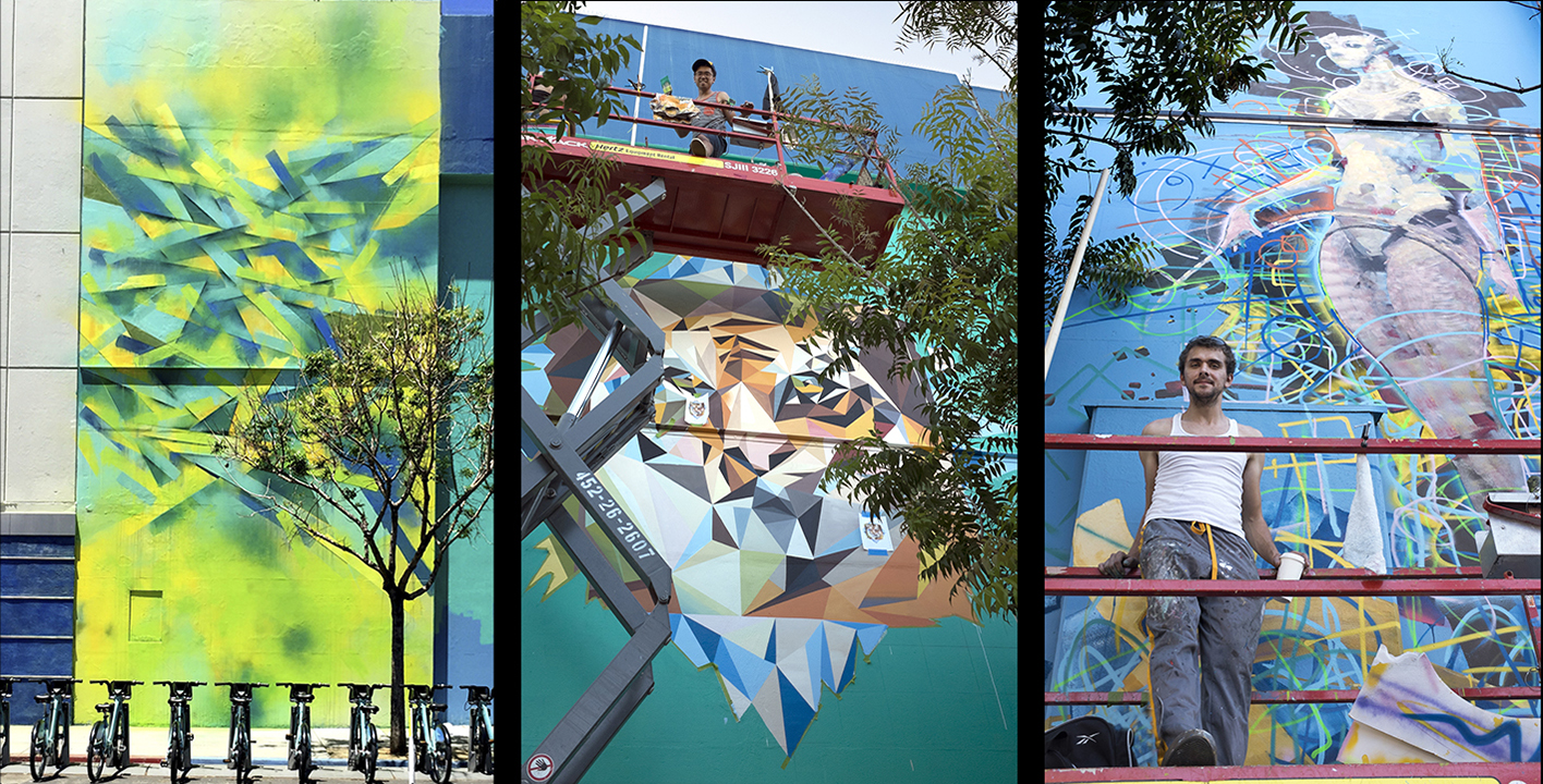 Murals by Poesia, Michael Borja, and Denis Korkh