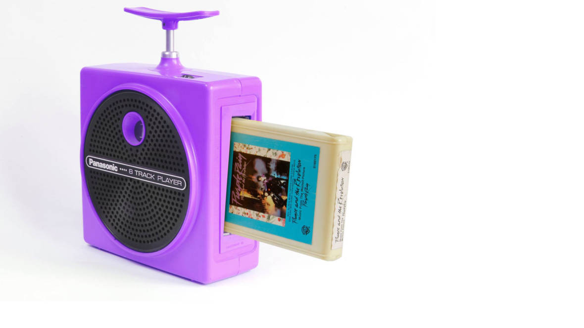 Prince's 'Purple Rain,' with a Panasonic RQ-830S 'Plunger' 8-track player.  Photo: Steve Ciaffa