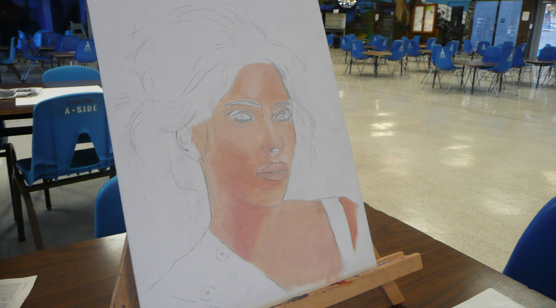 Inmate Greg Colignese's sketch of Scarlett Johansson is getting some color.