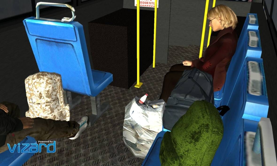 "In the study ""Empathy at Scale,"" participants get on a virtual reality bus, where they can click on a mouse to hear the stories of homeless people. The computer simulation doesn't feel ""real,"" but it does feel intimate, as if we're overhearing the thoughts of fellow passengers."