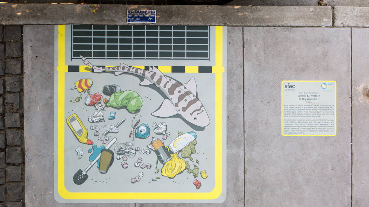 A shark patrols a Mission Bay stormdrain in one of Jenifer Wofford's 'SF Bay Guardians' murals. © Ethan Kaplan