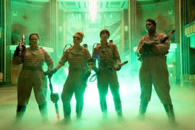 The Ghostbusters Abby (Melissa McCarthy), Holtzmann (Kate McKinnon), Erin (Kristen Wiig) and Patty (Leslie Jones)