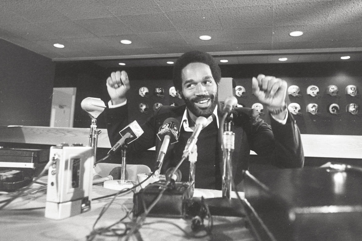 O.J. Simpson at the Buffalo Bills' Rich Stadium press conference circa 1975