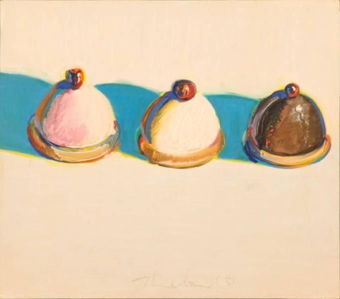 """Three Treats"", c. 1975-76, oil on panel, gift of Betty Jean and Wayne Thiebaud"