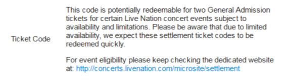 """""""We expect these settlement ticket codes to be redeemed quickly,"""" reads Ticketmaster's voucher description."""