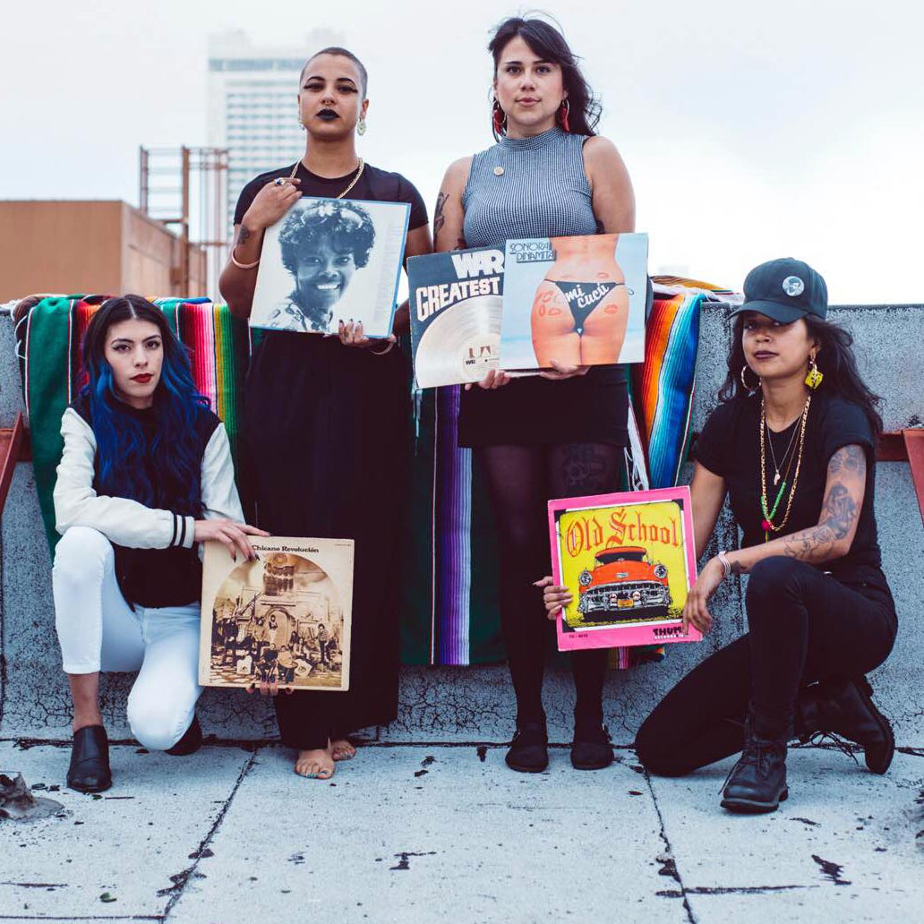 The B-Side Brujas (L–R): Moe Alvarez, Dharma Mooney-Haynes, April Garcia, and Zakiya Mowat.