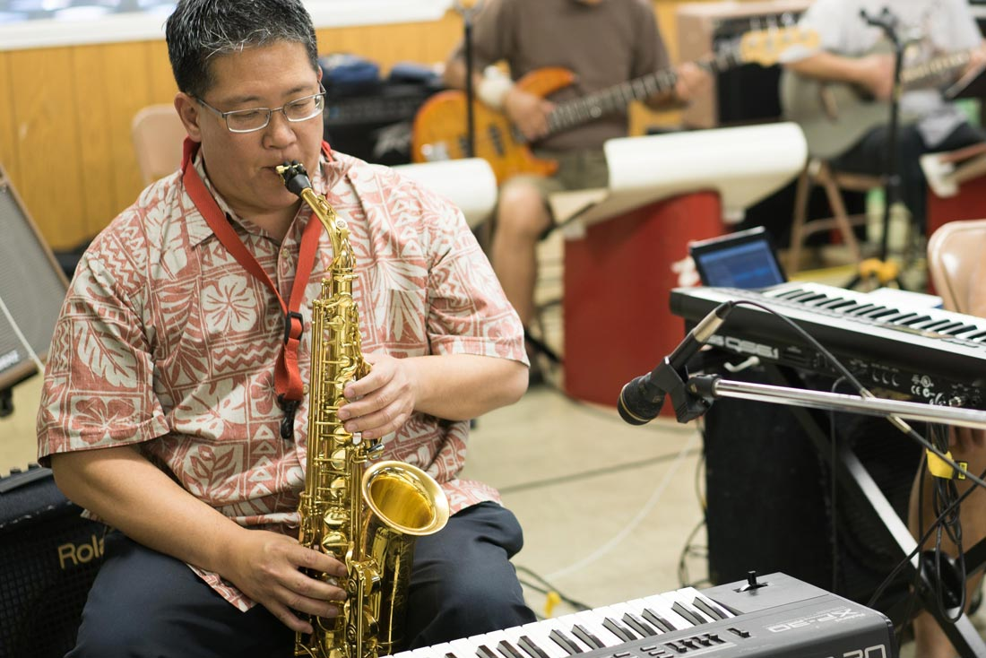 Chidori Band director Michael Yoshihara rehearses in San Jose's Japantown before a series of performances at Obon festivals in different cities.