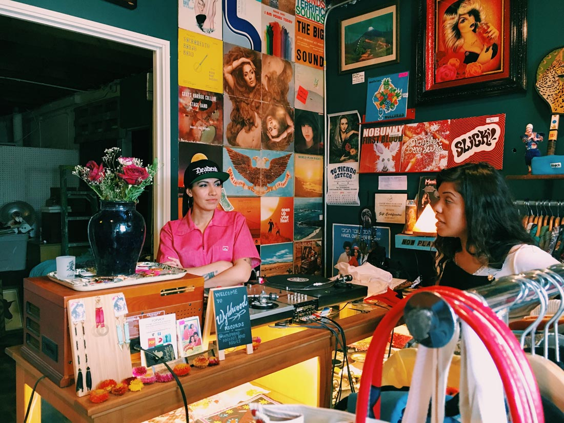 Mayra Ramirez and Jahaira Morales of Chulita Vinyl Club at Wyldwood Records & Relics in Berkeley.