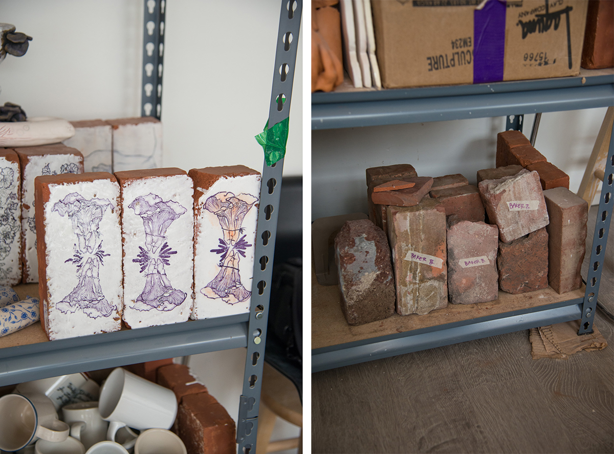 Glazed and unglazed found bricks on Green's studio shelves.