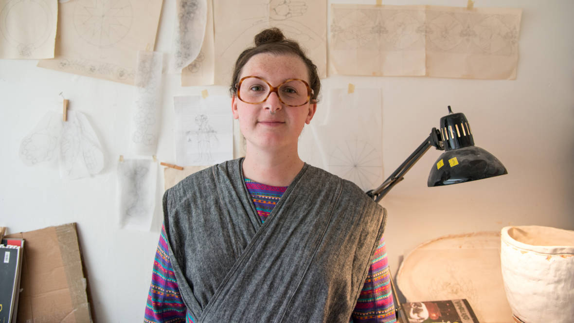 Nicki Green in her San Francisco ceramics studio. Photo: Graham Holoch / KQED