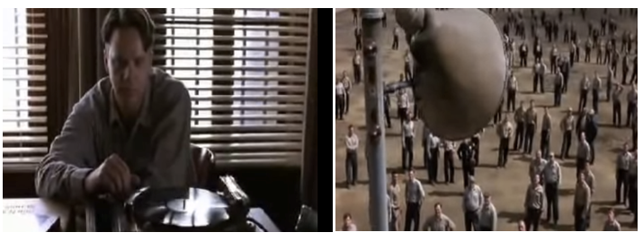 "In ""The Shawshank Redemption,"" a prisoner played by Tim Robbins (left) plays Mozart for his fellow prisoners, who listen intently (right) to a speaker that blared an Italian-language opera song."