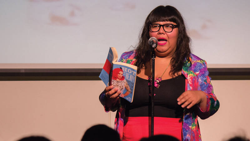 Virgie Tovar at a public reading