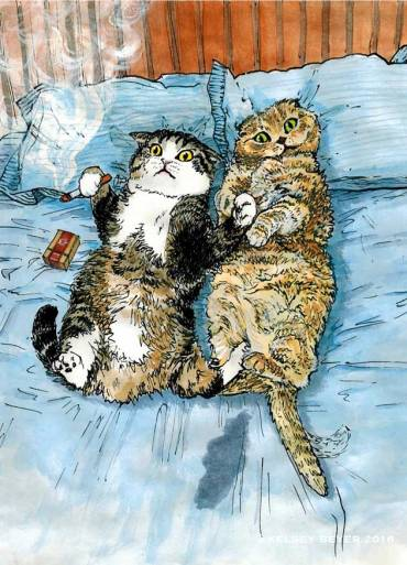 Illustration from 'The Lesbian Sex Haiku Book (with Cats!)' by Kelsey Beyer.