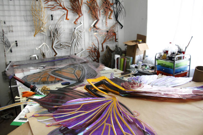 Completed wings ready to be shipped to clients sit in Angela Jarman's fairy wing workroom in Richmond, California.