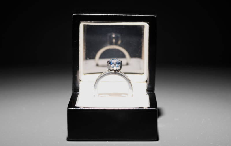 "'Jill Magid: The Proposal' (detail), 2016 Uncut, 2.02 carat, blue diamond with micro-laser inscription ""I am wholeheartedly yours,"" silver ring, ring box, documents. Setting design: Anndra Neen. Courtesy of the artist; LABOR, Mexico City; RaebervonStenglin, Zurich and Galerie Untilthen, Paris."