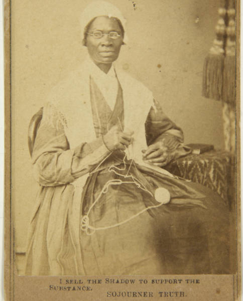 "Sojourner Truth always captioned her cartes de visite ""I sell the shadow to support the substance"" to show her ownership of herself and her image"