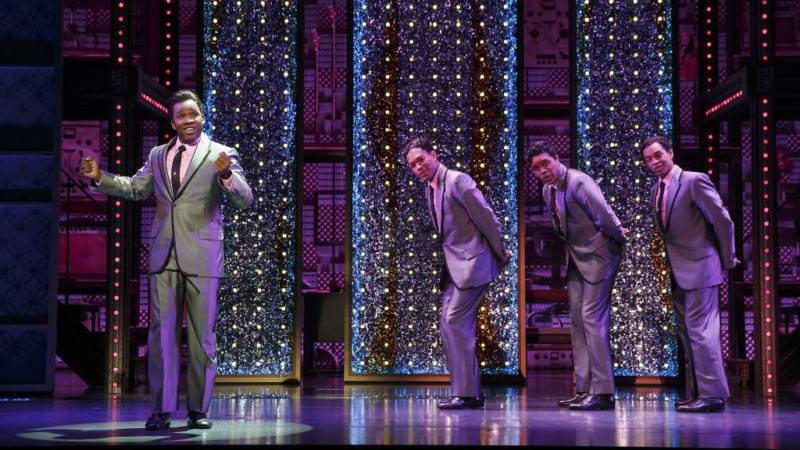 "The Drifters (Josh A. Dawson, Paris Nix, Jay McKenzie, and Noah Ricketts) belt out ""Some King of Wonderful"" in 'Beautiful' at the Orpheum Theatre."