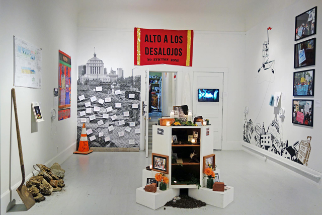 Installation view of 'Boom: The Art of Resistance, A Diversity of Bay Area Anti-Displacement Tactics.'