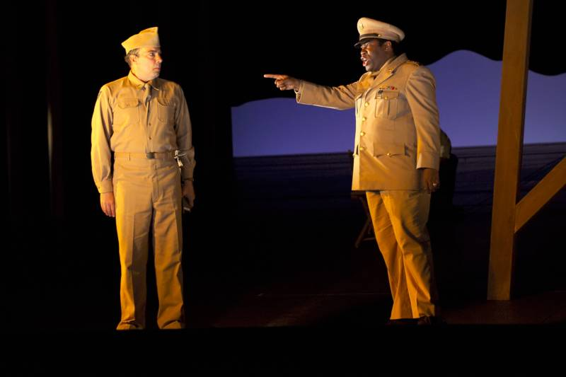 Baritone James Maddalena as Jack Hubbard, and bass-baritone Eric Owens as General Leslie Groves in SF Opera's production of 'Doctor Atomic' by John Adams and Peter Sellars