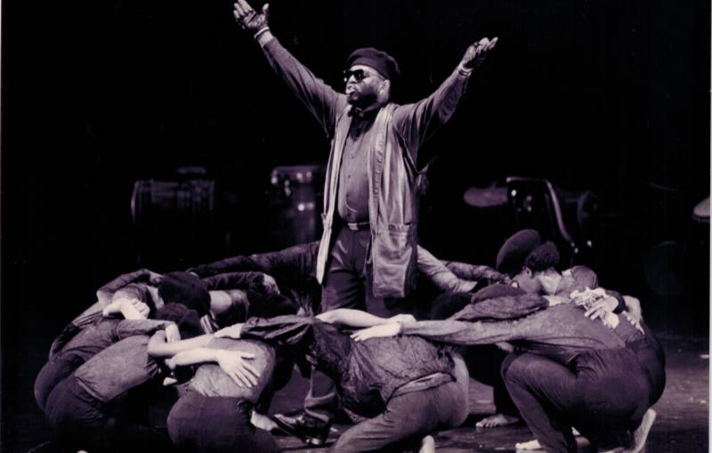 Ulysses Cooperwood (at center), and Dimensions Dance Theater company in the 1996 production of 'Project Panther' (Photo courtesy Dimensions Dance Theater)