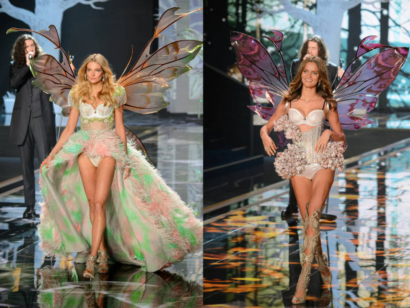 """Victoria's Secret models Eniko Mihalik (left) and Barbara Fialho (right) wore Jarman's """"Kira"""" style fairy wings during the 2014 Victoria's Secret Fashion show. Photo taken by Paul Bayfield of Timesniper.com"""