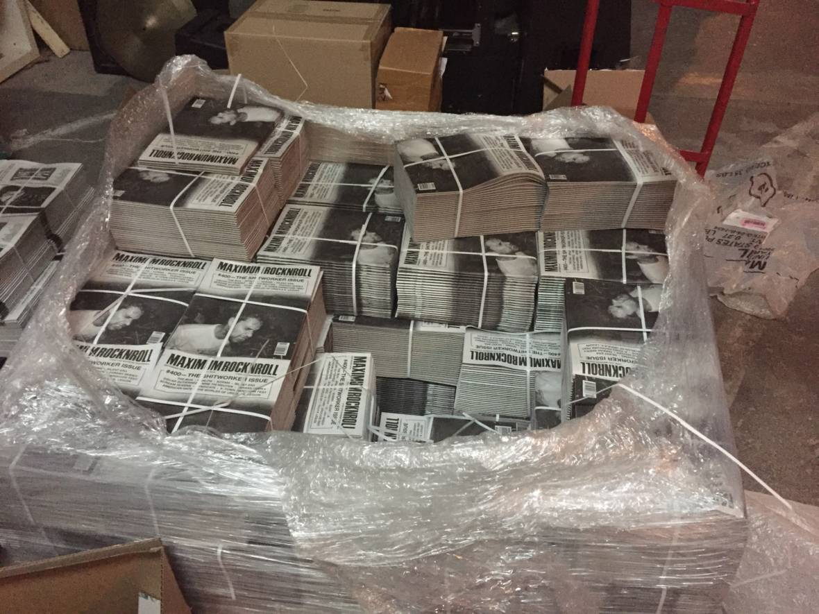 A pallet of Maximum Rocknroll issues, ready for distribution