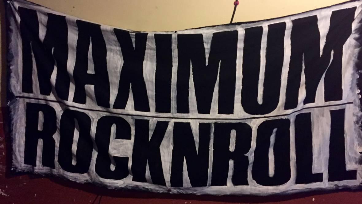 A banner at Maximum Rocknroll's office Photo: Kevin L. Jones/KQED