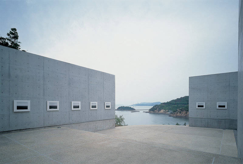 "Hiroshi Sugimoto's ""Time Exposed"" seascape is exhibited at the Benesse House Museum."