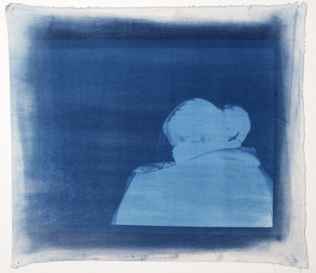 Takeshi Moro, cyanotype on unstretched cotton canvas.