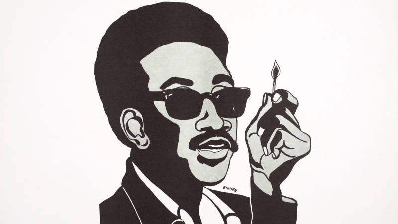 Emory Douglas, H. Rap Brown (Man with Match), 1967. Poster, 17 x 22 in. Collection of the Oakland Museum of California. All Of Us Or None Archive. Gift of the Rossman Family Emory Douglas, H. Rap Brown (Man with Match), 1967. Poster, 17 x 22 in. Collection of the Oakland Museum of California. All Of Us Or None Archive. Gift of the Rossman Family