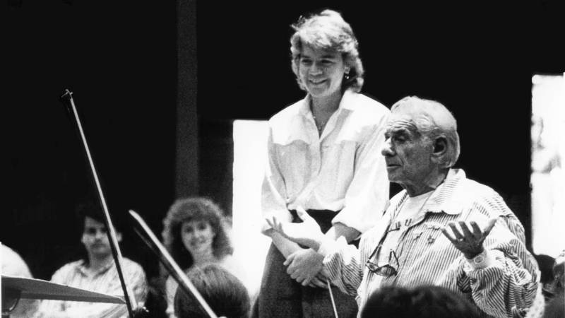 "Composer John Adams says there's a lot in Marin Alsop that recalls her mentor Leonard Bernstein, a great popularizer of classical music. ""She always speaks before each performance of a new piece and sets a tone of adventure, a tone of excitement, and a kind of intimate connection between the listener and the performer."""