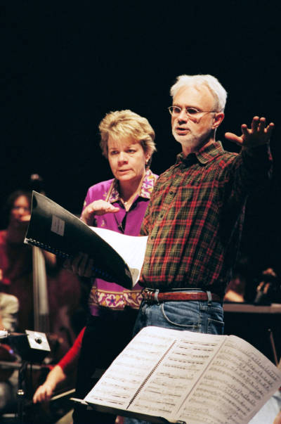 "Marin Alsop and composer John Adams, who says ""Marin has been a great champion of my music, but I'm just one of hundreds of composers that she's taken an interest in."""