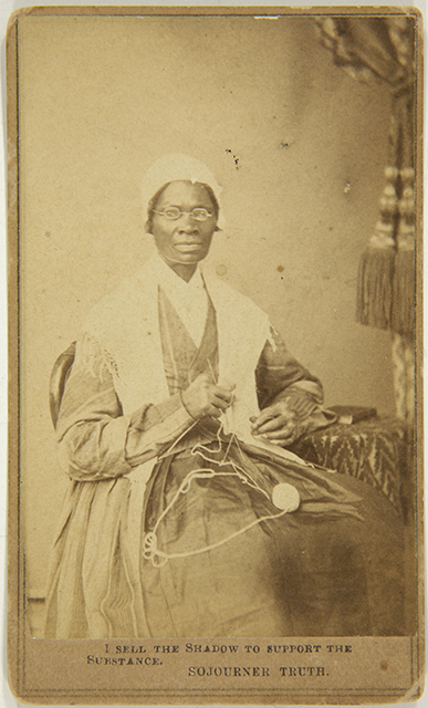 Captioned carte de visite of Sojourner Truth, 1864