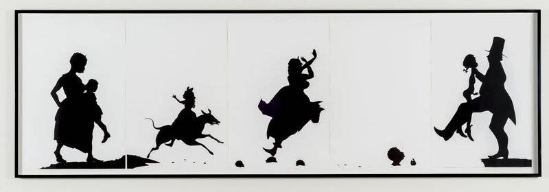 Kara Walker uses striking, black-and-white silhouettes in her 1995 work The Means to an End...A Shadow Drama in Five Acts.