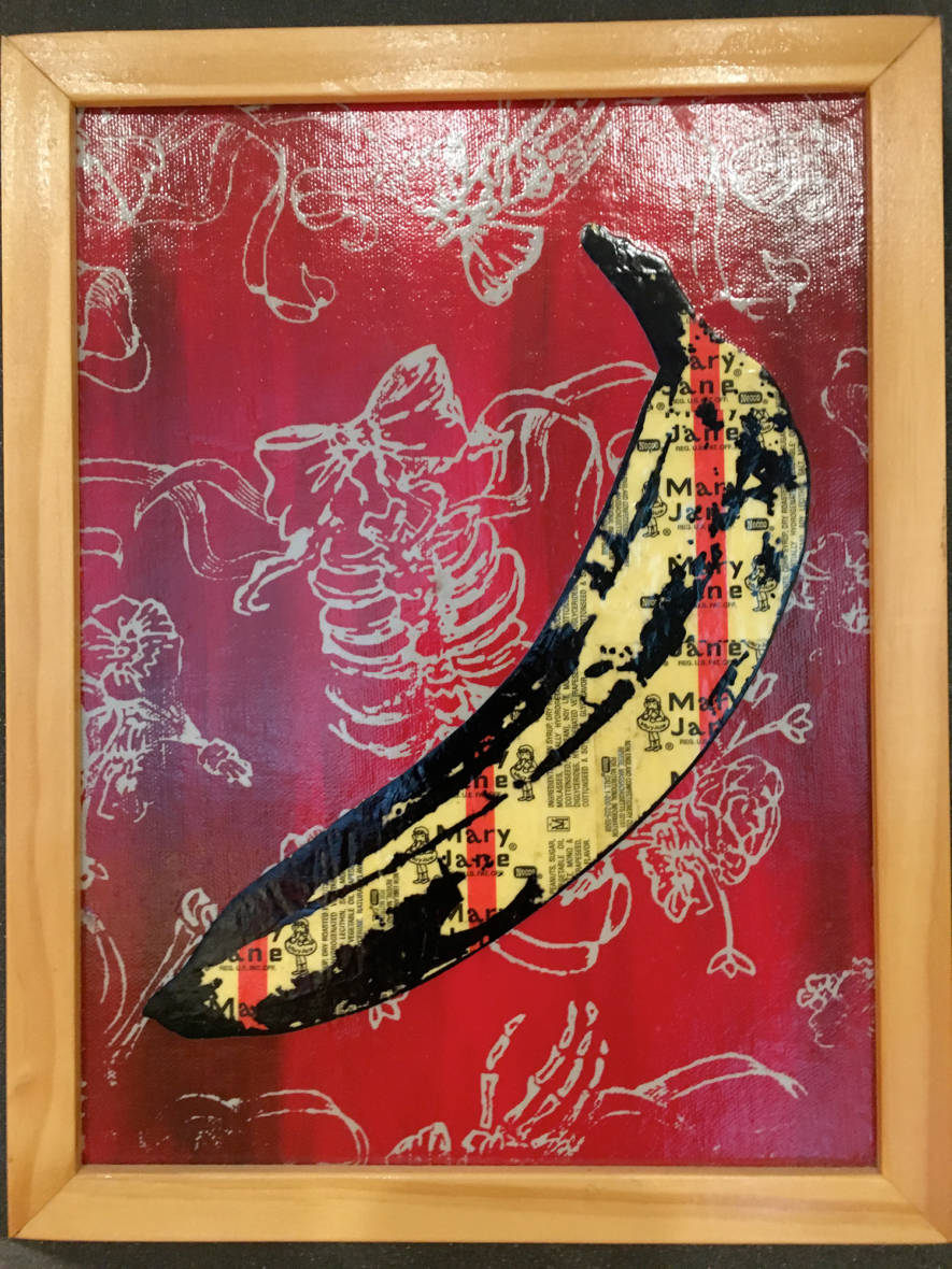 """""""Mary Jane's Bones & Bows."""" Mary Jane wrappers with ink and acrylic screen print on canvas. Artwork by Sean Brown. 2012."""