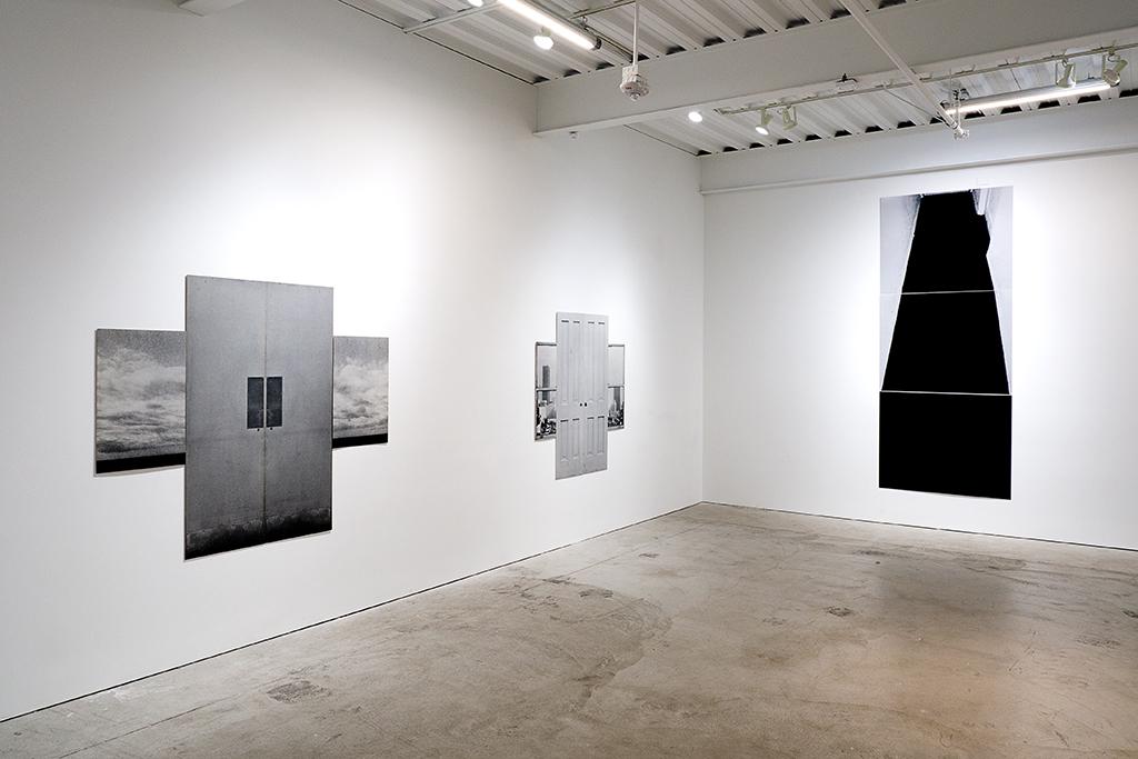 Installation view of 'Mural Triptychs & Door/Window Constructions.'