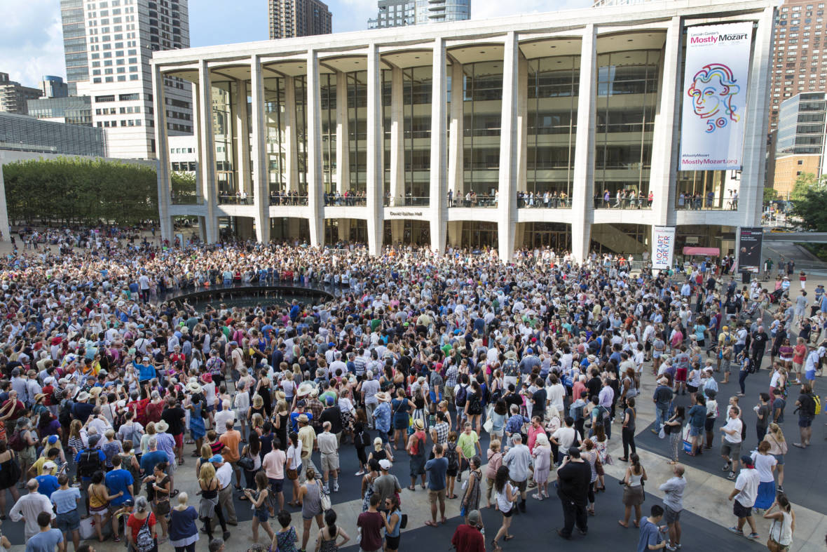"""The """"public domain"""" chorus gathers at Josie Robertson Plaza at Lincoln Center on Saturday in New York, NY."""