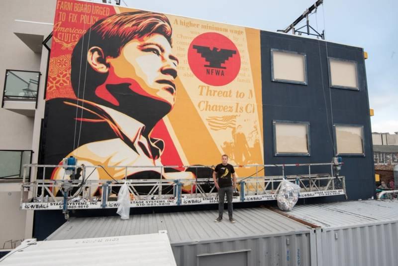 Shepard Fairey completes a Cesar Chavez Mural in San Francisco.