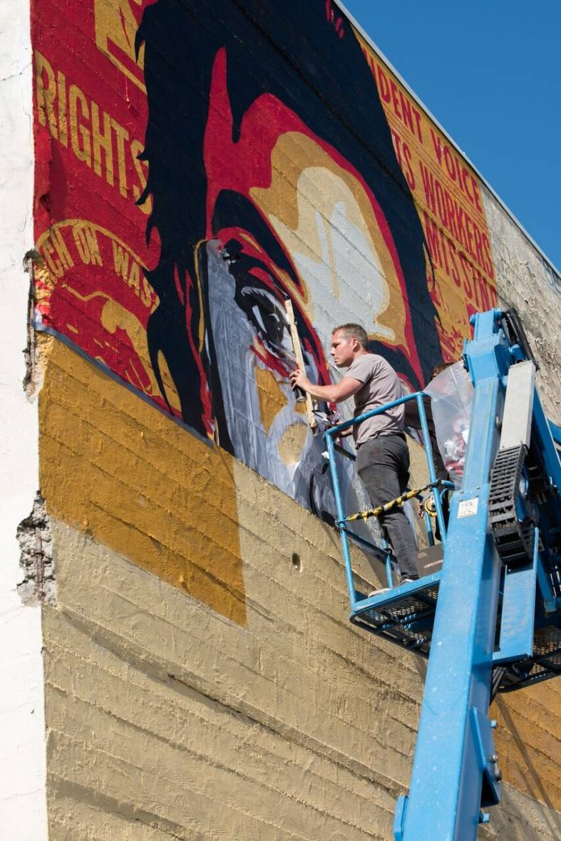Shepard Fairey completes a Fannie Lee Chaney Mural in San Francisco.
